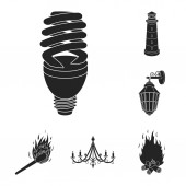 Light source black icons in set collection for design Light and equipment vector symbol stock web illustration
