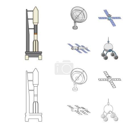 Ilustración de Radar de radio, en la nave espacial, Lunokhod. Tecnología espacial establece los iconos de la colección de dibujos animados, Ilustración de contorno estilo vector símbolo stock. - Imagen libre de derechos