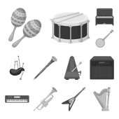 Musical instrument monochrome icons in set collection for design String and Wind instrument vector symbol stock web illustration