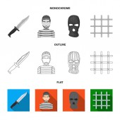 Knife prisoner mask on face steel grille Prison set collection icons in flatoutlinemonochrome style vector symbol stock illustration web