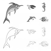 Merlin turtle and other speciesSea animals set collection icons in outlinemonochrome style vector symbol stock illustration web