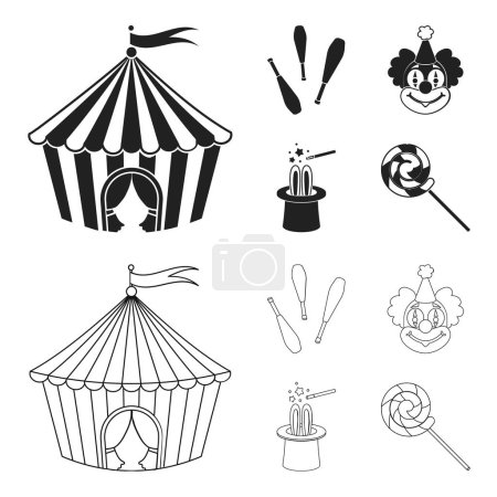 Circus tent, juggler maces, clown, magician hat.Circus set collection icons in black,outline style vector symbol stock illustration web.
