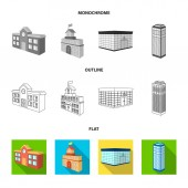 Bank office skyscraper city hall building college building Architectural and structure set collection icons in flatoutlinemonochrome style vector symbol stock illustration