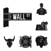 Money and Finance black icons in set collection for design Business and Success vector symbol stock web illustration