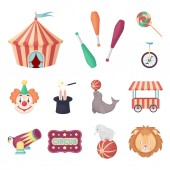Circus and attributes cartoon icons in set collection for design Circus Art vector symbol stock web illustration