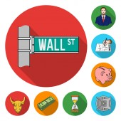 Money and Finance flat icons in set collection for design Business and Success vector symbol stock web illustration