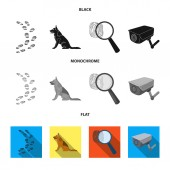 Traces on the ground service shepherd security camera fingerprint Prison set collection icons in black flat monochrome style vector symbol stock illustration web