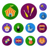 Circus and attributes flat icons in set collection for design Circus Art vector symbol stock web illustration