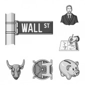 Money and Finance monochrome icons in set collection for design Business and Success vector symbol stock web illustration