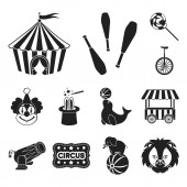 Circus and attributes black icons in set collection for design Circus Art vector symbol stock web illustration