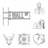 Money and Finance outline icons in set collection for design Business and Success vector symbol stock web illustration