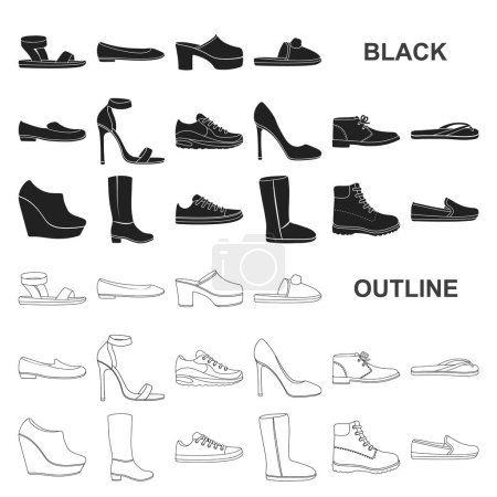 A variety of shoes black icons in set collection f...