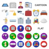 Hotel and equipment cartoon icons in set collection for design Hotel and comfort vector symbol stock web illustration