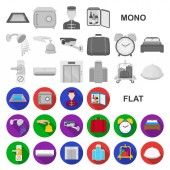Hotel and equipment flat icons in set collection for design Hotel and comfort vector symbol stock  illustration
