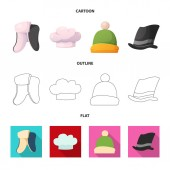Vector illustration of headgear and cap sign Collection of headgear and headwear stock symbol for web