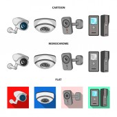 Vector design of cctv and camera icon Collection of cctv and system vector icon for stock