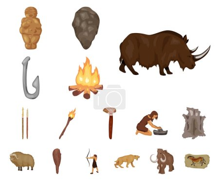 Illustration for Life in the Stone Age cartoon icons in set collection for design. Ancient people vector symbol stock  illustration. - Royalty Free Image
