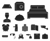 Hotel and equipment black icons in set collection for design Hotel and comfort vector symbol stock web illustration