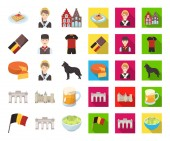 Country Belgium cartoonflat icons in set collection for designTravel and attractions Belgium vector symbol stock web illustration