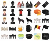 Country Belgium cartoonblack icons in set collection for designTravel and attractions Belgium vector symbol stock web illustration