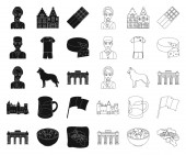 Country Belgium blackoutline icons in set collection for designTravel and attractions Belgium vector symbol stock web illustration