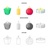 Isolated object of relaxation and flame icon Set of relaxation and wax stock symbol for web