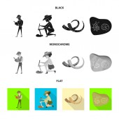 Vector illustration of story and items icon Set of story and attributes  vector icon for stock