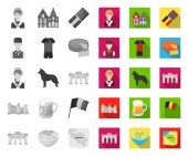 Country Belgium monoflat icons in set collection for designTravel and attractions Belgium vector symbol stock web illustration