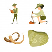 Vector design of archaeology and historical icon Set of archaeology and excavation vector icon for stock