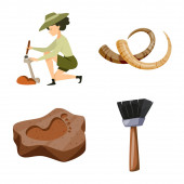 Isolated object of archaeology and historical logo Set of archaeology and excavation stock vector illustration