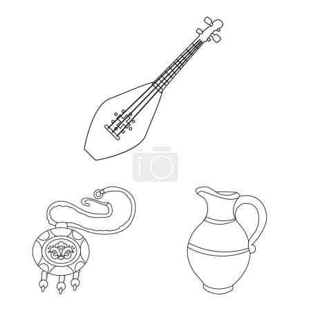Illustration pour Illustration vectorielle des traditions et du logo national. Collection de traditions et de sites touristiques illustration vectorielle de stock . - image libre de droit
