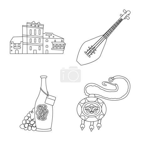 Illustration pour Objet isolé de traditions et logo national. Ensemble de traditions et de sites touristiques stock symbole pour le web . - image libre de droit