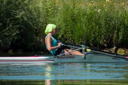 Mulhouse - France - 20 June 2018 - woman  rowing in the channel