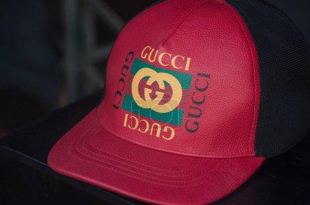 closeup of Guci red cap