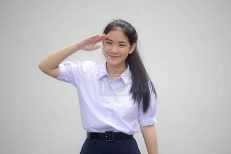 Portrait of thai high school student uniform teen ...