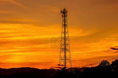 silhouette of Broadcast radio antenna