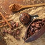 Cocoa pod, beans and cocoa nibs setup on rustic wo...