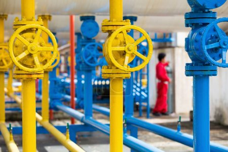 Valves at gas plant, Pressure safety valve and gas line pipes.