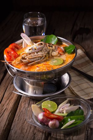 Photo for Tom yum goong spicy Thai seafood soup. - Royalty Free Image