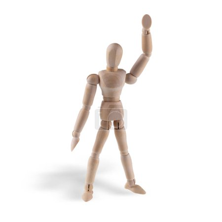 Wooden figure action isolated on white background. With clipping path.