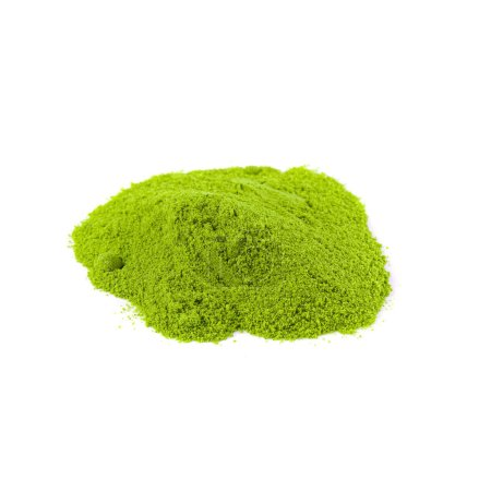 Powdered matcha green tea on white background top view.