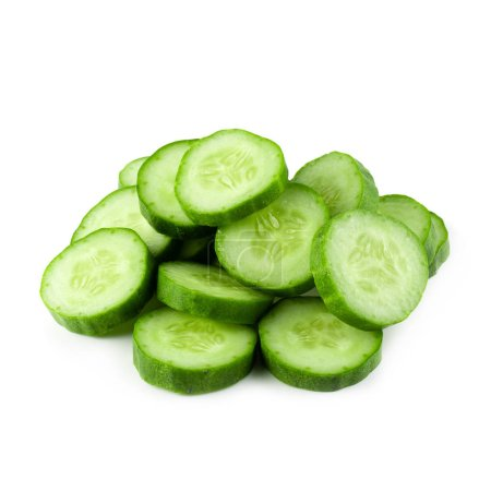 Photo for Cucumber slice isolated on a white background. - Royalty Free Image