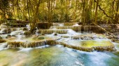 Beauty of tropical stream waterfall in national deep forest, landscape background