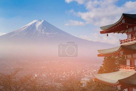 Fuji mountain aerial view with residence downtown, Japan natural landmark