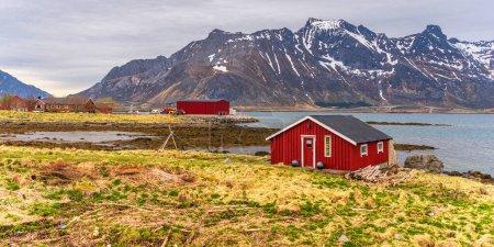 Scenic view of Norwegian village  cute houses...