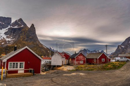Photo for Scenic view of Norwegian village  cute houses - Royalty Free Image