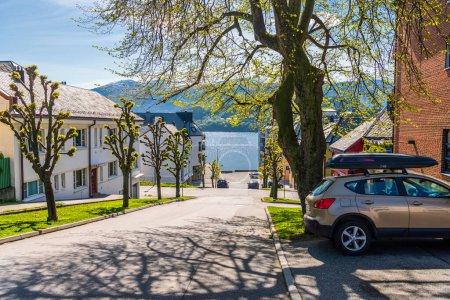 Photo pour Alesund, Norvège, photo de la rue, maisons en ville - image libre de droit