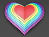 Rainbow stylized paper heart