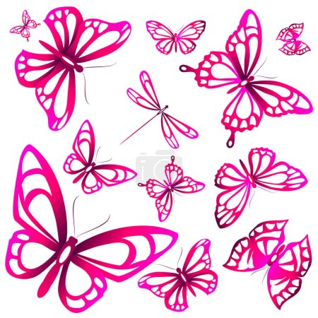 postal card with collection of pink flying butterflies isolated on white background