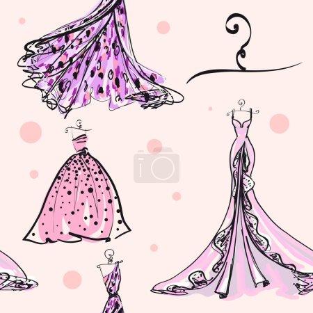 Photo pour Ensemble de robes de mariée rose sur mannequins sur fond clair - image libre de droit